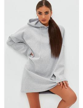 Grey Ribbed Hooded Flare Sleeve Sweater Dress by Missguided
