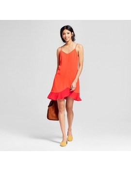 Women's Spaghetti Strap Dress With Ruffle Flare   Éclair Orange by Eclair
