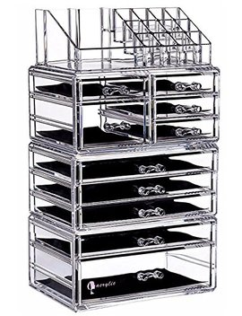 "Cq Acrylic Large 9 Tier Clear Acrylic Cosmetic Makeup Storage Cube Organizer With 10 Drawers. It Consists Of 4 Separate Organizers, Each Of Which Can Be Used Individually  9.5""X6.5""X14.5"" by Cq Acrylic"