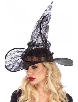 Sexy Black Lace Witch Hat by Ami Clubwear
