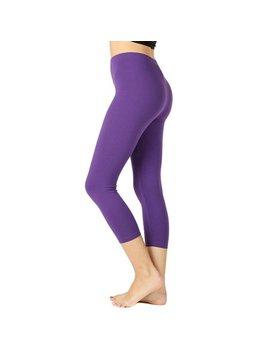 Women Premium Cotton High Waist Capri Length Leggings by The Lovely