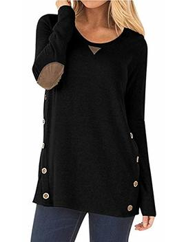 I Genjun Women's Side Buttons Long Sleeve Tunic Sweater Elbow Patched Loose Blouse Tops by I Genjun