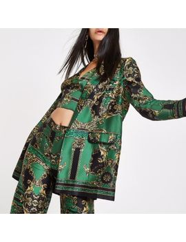 Ri 30 Green Printed Longline Blazer by River Island