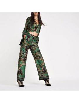 Ri 30 Green Print Straight Wide Leg Trousers by River Island