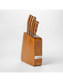 Cravings By Chrissy Teigen 6pc Stainless Steel Block Cutlery Set With Wood Handle by Cravings By Chrissy Teigen