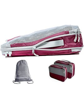 Packing Cubes Set With Compression Pouches | Luggage Organiser For Suitcases Backpack Bags | Waterproof & Ultra Lightweight | Travel Dude (4 Pieces, Wine Red) by Travel Dude