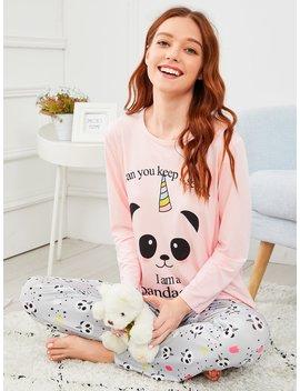 Panda &Amp; Letter Print Pajama Set by Romwe