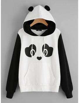 Panda Print Pom Pom Detail Hoodie by Romwe