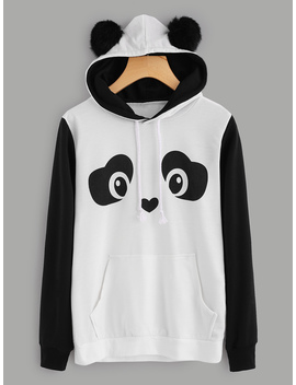Panda Hoodie With Faux Fur Ball by Romwe