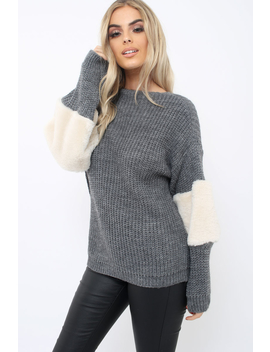 Dark Grey Chunky Knit Fur Sleeve Jumper   Kimberly by Rebellious Fashion