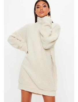 Cream Borg High Neck Sweat Dress by Missguided