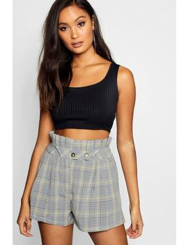 prince-of-wales-checked-paperbag-short by boohoo
