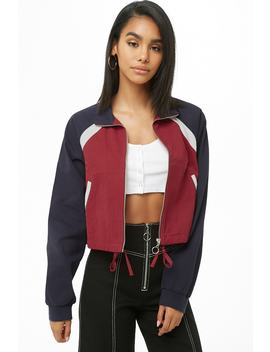 Colorblock Zippered Jacket by Forever 21
