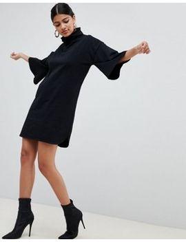 Asos Design   Vestitino Svasato Accollato Con Maniche Svasate by Asos