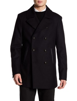 Wool Blend Double Breasted Peacoat by John Varvatos Collection