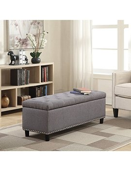 "Belleze 48"" Rectangular Gray Storage Fabric Ottoman Bench Tufted Footrest Lift Top by Belleze"