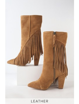 Camron Brandy Suede Leather Fringe Mid Calf Boots by Splendid