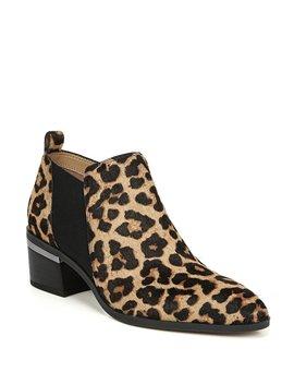 Arden Leopard Print Calf Hair Block Heel Booties by Franco Sarto