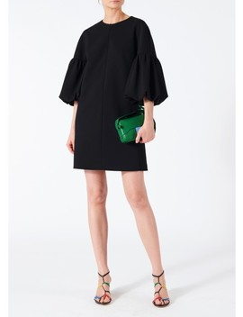 Structured Crepe Balloon Sleeve Dress by Tibi