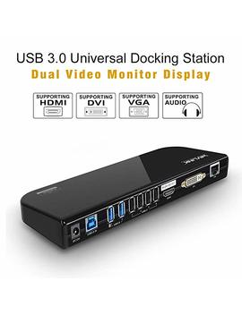 Wavlink Usb 3.0 Universal Docking Station, Dual Video Monitor Display Hdmi & Dvi/Vga With Gigabit Ethernet, Audio, 6 Usb Ports For Laptop, Ultrabook And P Cs by Wavlink