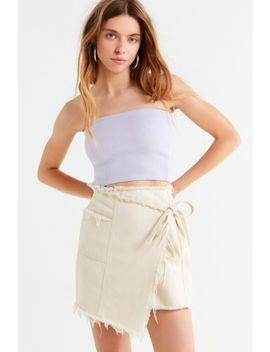 Uo Frayed Beige Wrap Mini Skirt by Urban Outfitters
