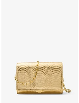 Yasmeen Metallic Snakeskin Clutch by Michael Kors Collection