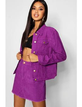 Cord Purple Denim Jacket by Boohoo