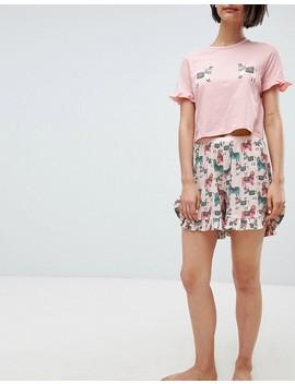 Vero Moda Llama Print Pyjama Short Co Ord by Vero Moda