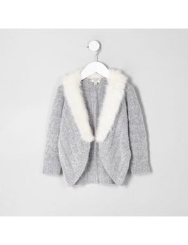 Mini Girls Grey Cable Knit Faux Fur Cardigan by River Island