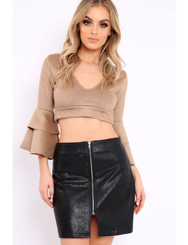 Camel Faux Suede Plunge Front Crop Top   Quorra by Rebellious Fashion