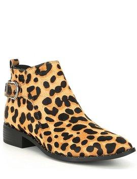 Chavi L Fur Leopard Print Block Heel Booties by Steve Madden