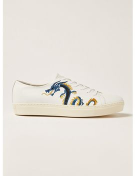 White Leather Dane Embroidered Premium Sneakers by Topman