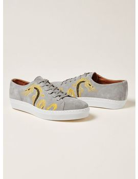 Gray Suede Dane Embroidered Premium Sneakers by Topman
