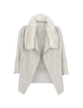 Cream Shawl Coat With Detachable Collar by River Island