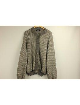 Vintage Alpaca Sweater Cardigan Wool Grey Gray Striped Draped Oversized Mod Winter Andean Creations Handmade In Peru Size Xl Xxl by Keepdrawer