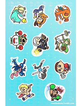 """Super Smash Bros 6x4"""" Sticker Sheet #4 by Metagame Mike"""
