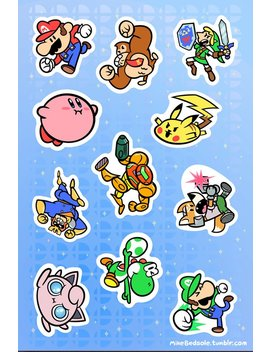 """Super Smash Bros 6x4"""" Sticker Sheet #1 by Metagame Mike"""