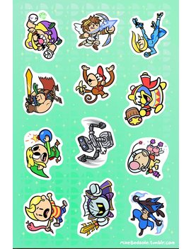 """Super Smash Bros 6x4"""" Sticker Sheet #3 by Metagame Mike"""
