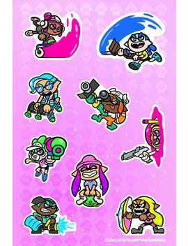 """Splatoon 2 Inkling 6x4"""" Sticker Sheet by Metagame Mike"""
