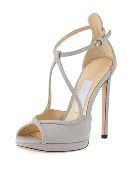Fawne Glitter Leather 120mm Sandal by Jimmy Choo