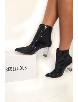 Black Clear Ankle Boots   Gita by Rebellious Fashion