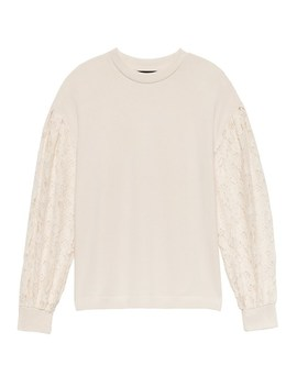 Brushed Lace Sleeve Top by Banana Repbulic