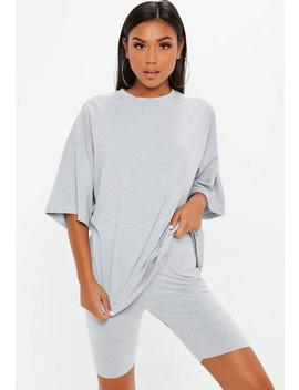 Grey Drop Shoulder Oversized T Shirt by Missguided