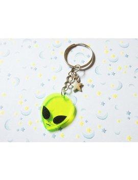 Alien Keychain, Outer Space Green Alien Key Chain, Acrylic 90's Keychain by Shop Heart Times