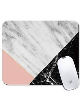 Personalized Rectangle Mouse Pad, Printed Cute Black Marble Pattern, Non Slip Rubber Comfortable Customized Computer Mouse Pad (9.45x7.87inch) by I Neworld