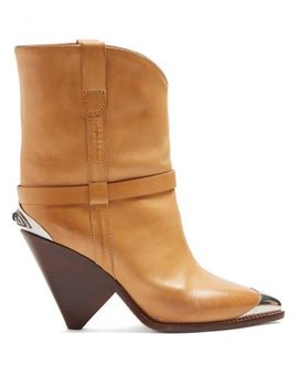 Lamsy Leather Ankle Boots by Isabel Marant