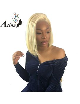 613 Blonde Lace Front Wig Pre Plucked With Baby Hair Brazilian Virgin Ombre Human Hair Full End Short Bob Wigs For Black Women by Atina