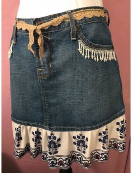 Von Dutch Sz Med Denim Jean Skirt W/Flounce & Hand Beaded Flowers Embellish Ooak by Von Dutch