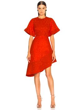 Satin Jacquard Flare Sleeve Mini Dress by Brandon Maxwell