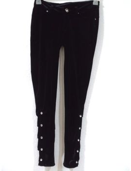 Apple Bottoms Skinny Black Velvet Leggings Jeweled Women's Juniors Size 7/8 by Apple Bottoms